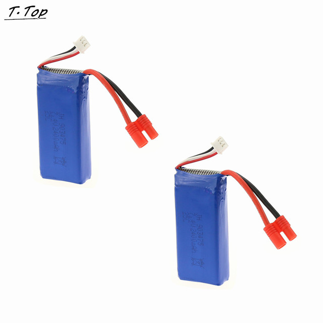 2pcs a lot 7.4V 2400mAh Round Plug Lipo Battery for Syma X8 X8G RC Quadcopter Drone Free shipping