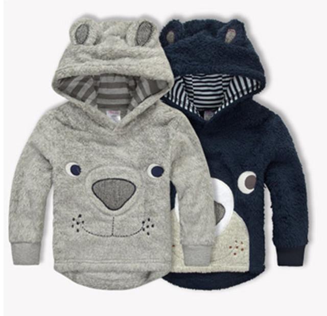 Invierno nuevo bebé muchacho de la historieta del oso espesan los Hoodies de Coral polar para niños suéteres chaquetas abrigos bebé