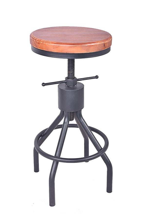American Antique Industrial Furniture Design Solid Wood And Black Metal Bar Stool Adjustable Coffee Dining Bar Chair