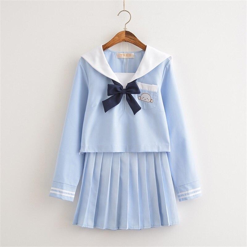 Collège Super mignon sceau broderie marin costume Cosplay JK uniforme japonais école uniforme costume Kawaii fille étudiants uniformes