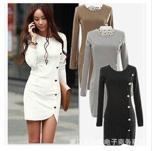 1c64a06edccc3 2015 mujeres vestido de manga larga button otoño invierno vestido de la  cadera del paquete 20