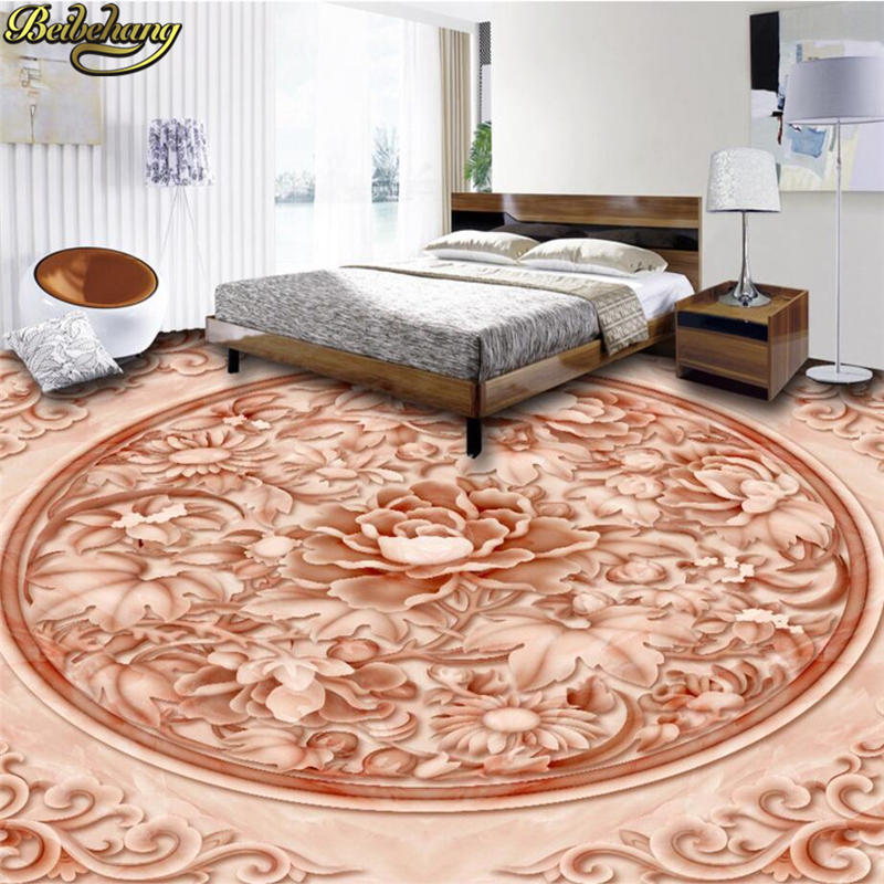 beibehang Custom papel de parede 3D floor wallpaper Peony 3D floor painting vinyl vinyl waterproof self - adhesive wall paper  beibehang summer beach floor floor murals wall stickers 3d wallpaper for living room pvc floor self adhesive papel de parede 3d
