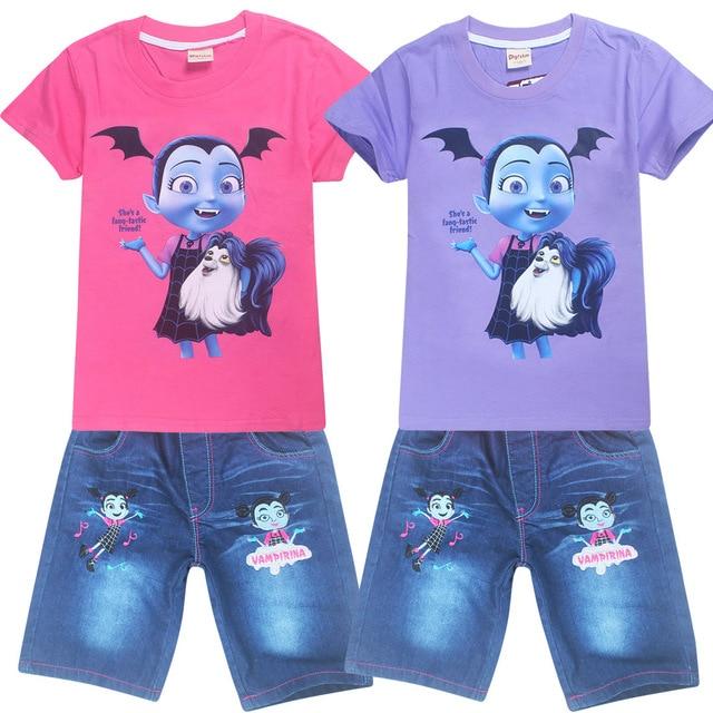 cf6015a56 2018 Girls T-shirt and jeans Vampirina clothes children shirts camisetas  Vamp clothing roupas infantis menino kids clothes set