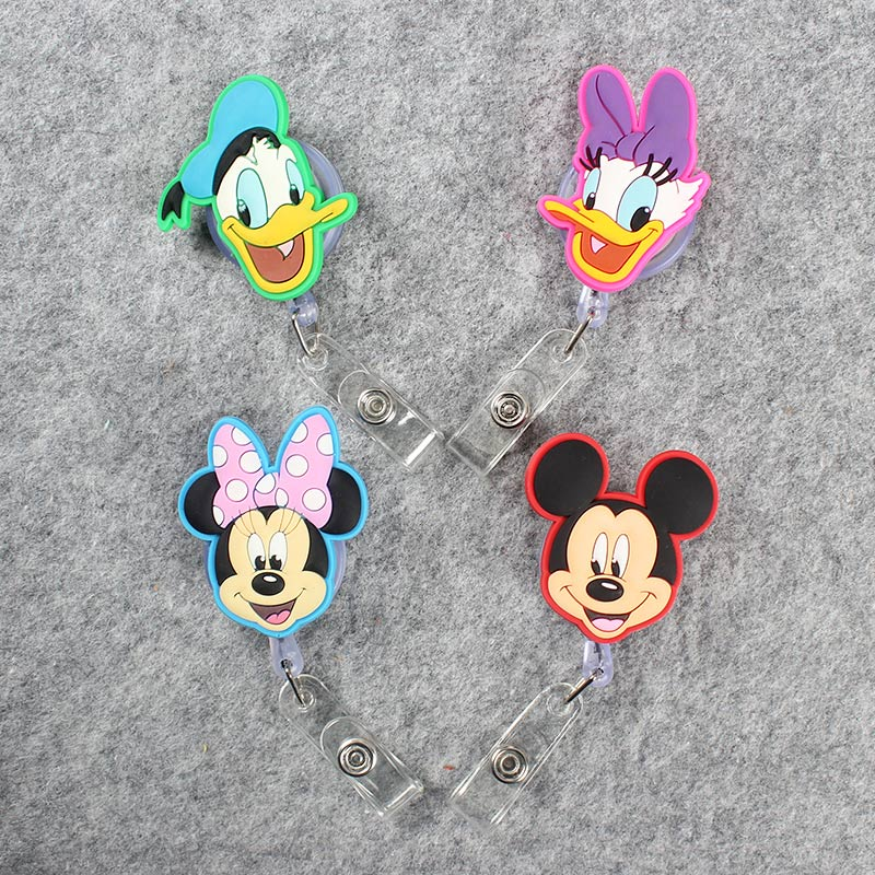 Cartonn Duck Girls Retractable Plastic Badge Holder Reel Mouse Exhibition ID Enfermera Name Card Hospital Office Chest Card