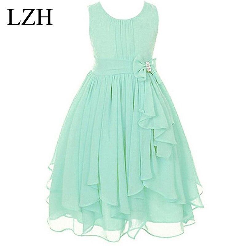 LZH Kids Girl Wedding Dress 2017 Summer Girls Princess Birthday Party Dress Flower Girl Dress For Girls Costume Children Clothes