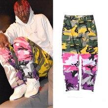 Espiga fresca 2018 Patchwork Cargo pantalones hombres Hip Hop Casual  camuflaje pantalones moda Streetwear pantalones cortos d4f8c0f2965f