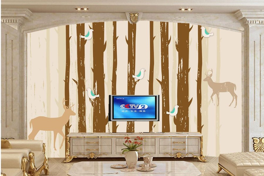 Custom 3D murals papel de parede,Simple abstract deer forest wallpaper,living room sofa TV wall 3d room wallpaper landscape blue earth cosmic sky zenith living room ceiling murals 3d wallpaper the living room bedroom study paper 3d wallpaper