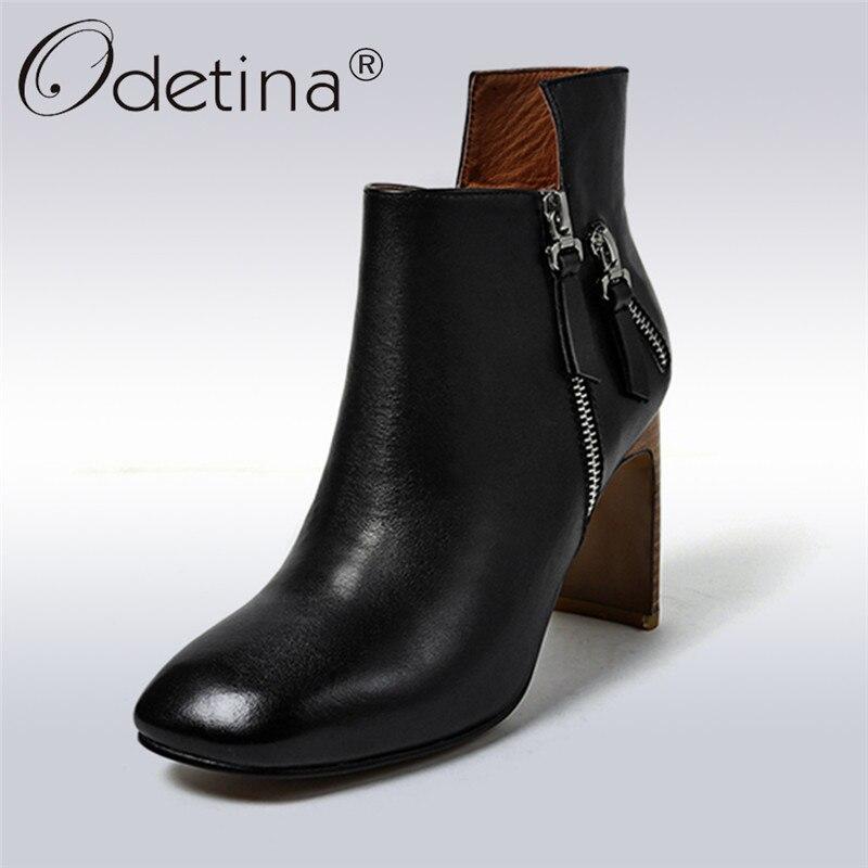 Odetina 2018 New Fashion Classics Genuine Leather Woman Ankle Boots Zipper Strange Heel Square Toe High Heels Shoes Cow Leather mabaiwan autumn ladies ankle boots genuine leather iron strange heel bota feminina front zipper botas high heels women pumps