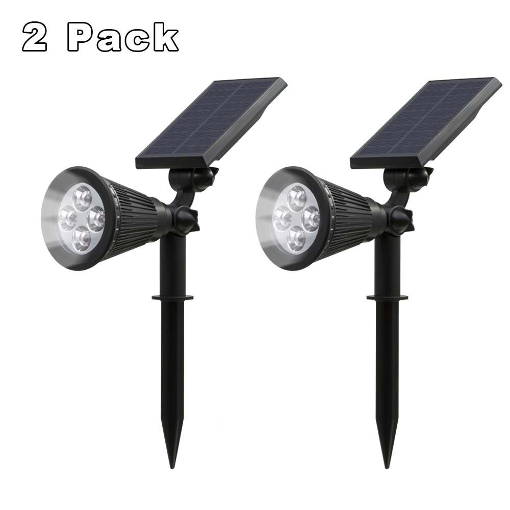 T SUN 2PCS Solar Powered Spotlight Outdoor Lighting Solar Light 2 in 1 Adjustable 4 LED Solar Lamp Waterproof For Garden Fence in Solar Lamps from Lights Lighting