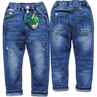 6016 Elastic Waist Boys Warm Winter Jeans Casual Pants Dark Blue Boys Kids Trousers Denim And
