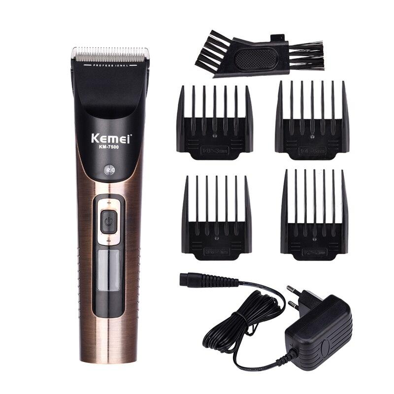 KEMEI professionnel tondeuse à cheveux Rechargeable tondeuse à cheveux pour hommes adulte avec 3/6/9/12mm limite peigne coupe de cheveux outil de coiffure X44