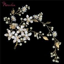 купить Gold Floral Handmade Wedding Headpiece Hair Vine Accessories for Women Party Hair Ornaments Bride Headwear RE3035 дешево