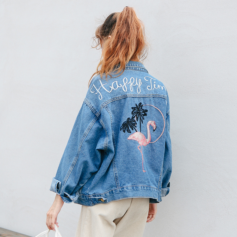 Vintage All 2018 New Jackets Sleeve Match Winter Casual Female Letter Long Fashion Blue Bird Embroidered Denim Simple pYn8Y1