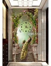 DIY,Diamond Embroidery,5D,Peacock Diamond Painting,Cross Stitch,3D,Diamond Mosaic, Wall Painting With Clock,Home Decoration,
