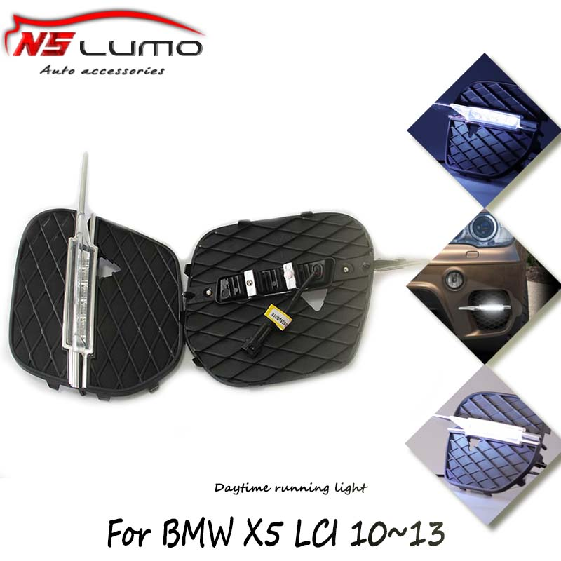 2pcs waterproof 12V 10W high bright led drl daytime running light for BMW E70 X5 front bumper decorated drl lighting