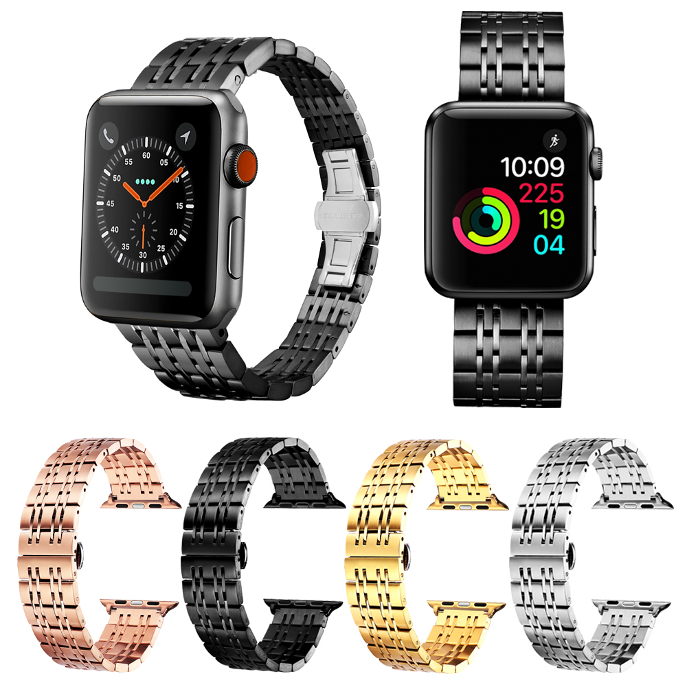 BINLUN 38mm 42mm Watch Band For Apple Watch Series 3/2/1 Stainless Steel Strap Black Gold Silver Rose Gold 38mm 42mm Watch Band