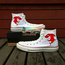 Original Design Shark Shoes Hand Painted Converse Chuck Taylor Men Women's Canvas Sneakers Brand Skateboarding Shoes