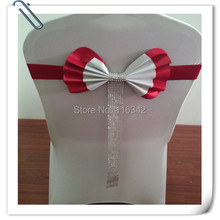 Factory price !!  100pcs Leather Chair Sash& Chair Cover Bow For Wedding Free Shipping Factory Price Wholesale Marious