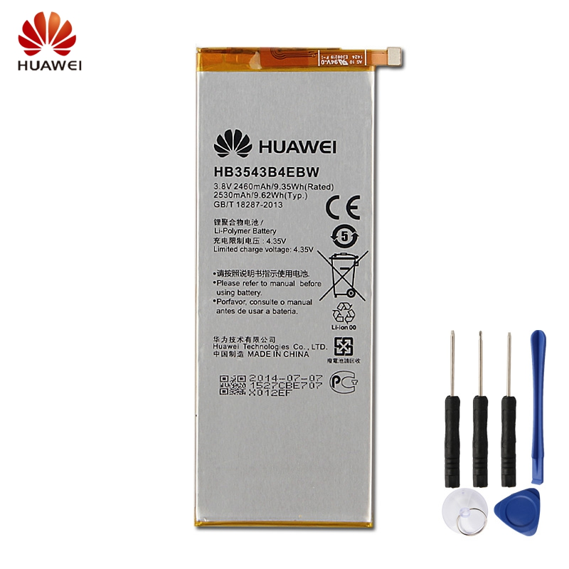 Original Replacement Battery <font><b>Huawei</b></font> HB3543B4EBW For <font><b>Huawei</b></font> Ascend <font><b>P7</b></font> <font><b>L07</b></font> L09 L00 L10 L05 L11 Authentic Phone Battery 2460mAh image