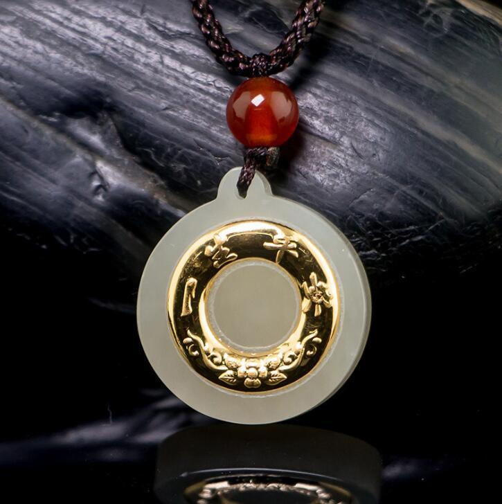 Design de mode bonne chance Jade pendentifs pour hommes femmes pas cher sur les offres spéciales unisexe collier de paix
