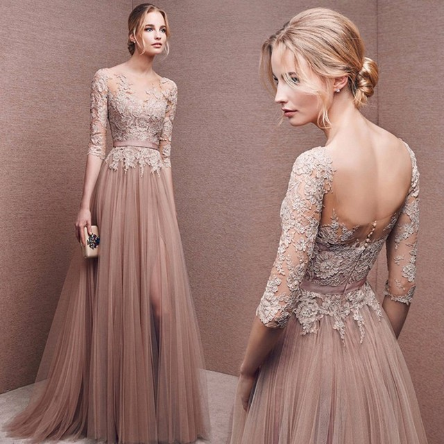 High Quality Nude Pink Long Sleeve Prom Dress Long Front Slit French Lace  Winter Bridesmaid Dresses f3f4d8c91d3f