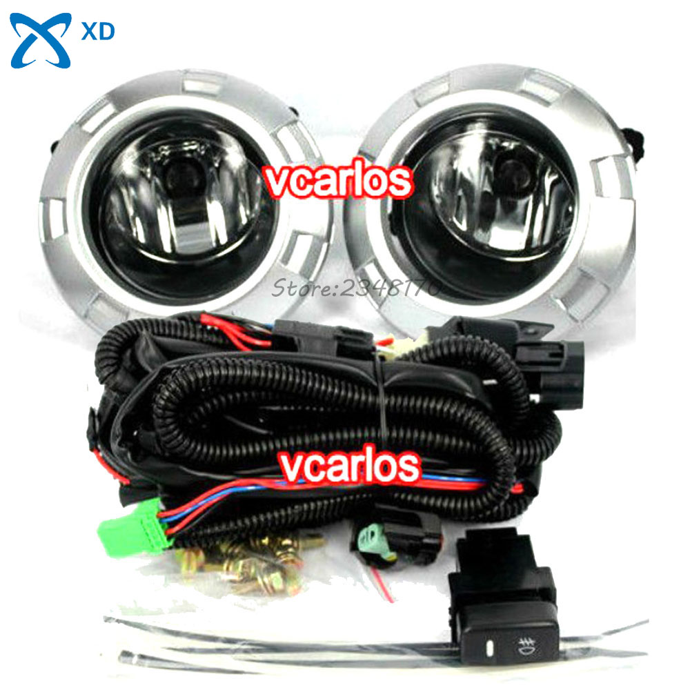 Yellow Color Car Fog light Lamp For MITSUBISHI PAJERO 2007~2009 Clear Lens Pair Set With Wiring Kit Fog Light Set Free Shipping car fog light assembly for mitsubishi pajero 2007 2008 2009 left
