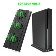 สำหรับMicrosoft XBox One XคอนโซลX One Xเกมคอนโซลพัดลมระบายความร้อนด้วยขาตั้งแนวตั้ง3 USB 2.0พอร์ตCooler