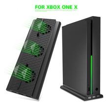 Para Microsoft XBox One X Console x one X Game Console ventilador de refrigeración con soporte Vertical con 3 puertos USB 2,0