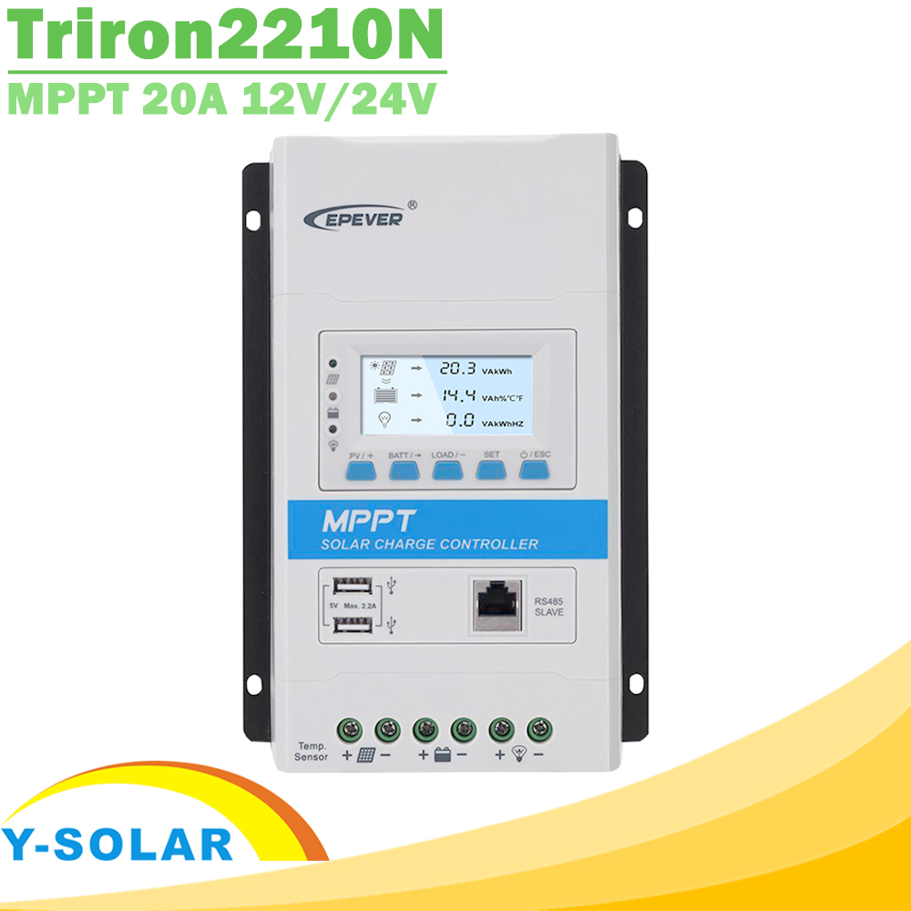 EPever Triron2210N 20A 12V 24V Backlight LCD MPPT Controlador de Carga Solar Regulador Solar PV 100V de Entrada Comum negativo DS2 + UCS