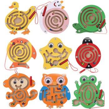 Nuevos juguetes de laberinto magnético de madera, serie de animales de dibujos animados, juegos intelectuales, laberinto con lapicero pequeño, rompecabezas, juguete educativo para bebés para niños