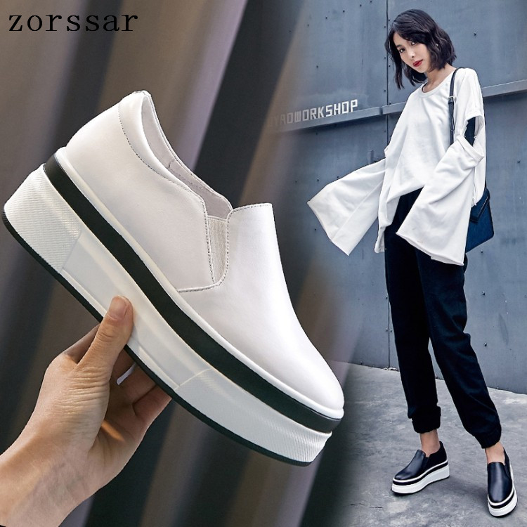 New 2019 Spring Autumn Women Flat shoes Platform Loafers Shoes Genuine Leather Slip on Woman Casual Shoes Flats creepers White