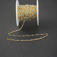 2mm Blue Enamel Round Shape Beads Chain Handmade Jewelry,Wire Wrapped Golden Plated Stainless Steel Links Fashion Necklace Craft