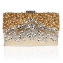 Frauen Handgemachten Partei Diamant Handtasche Braut Hochzeit Perlen handtaschen Metall Clutches Hard Case Kristall Perlen Abendtasche