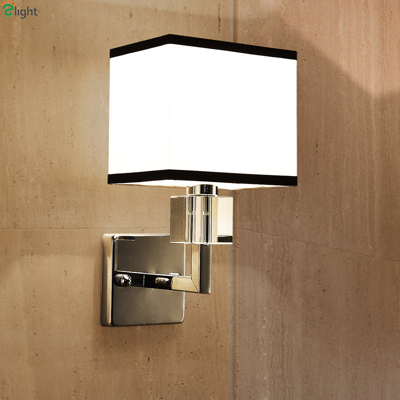 Modern Chrome Metal Led Wall Lamp Lustre Crystal Bedroom Led Wall Lights Fixtures Living Room Led Wall Light Fabric Wall Sconce