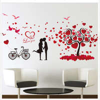 الرومانسية عاشق دراجات الحب الزهور ملصقات الحائط غرفة المعيشة التلفزيون أريكة نوم إزالة ملصقا الجدار ملصق الفن ديكور المنزل