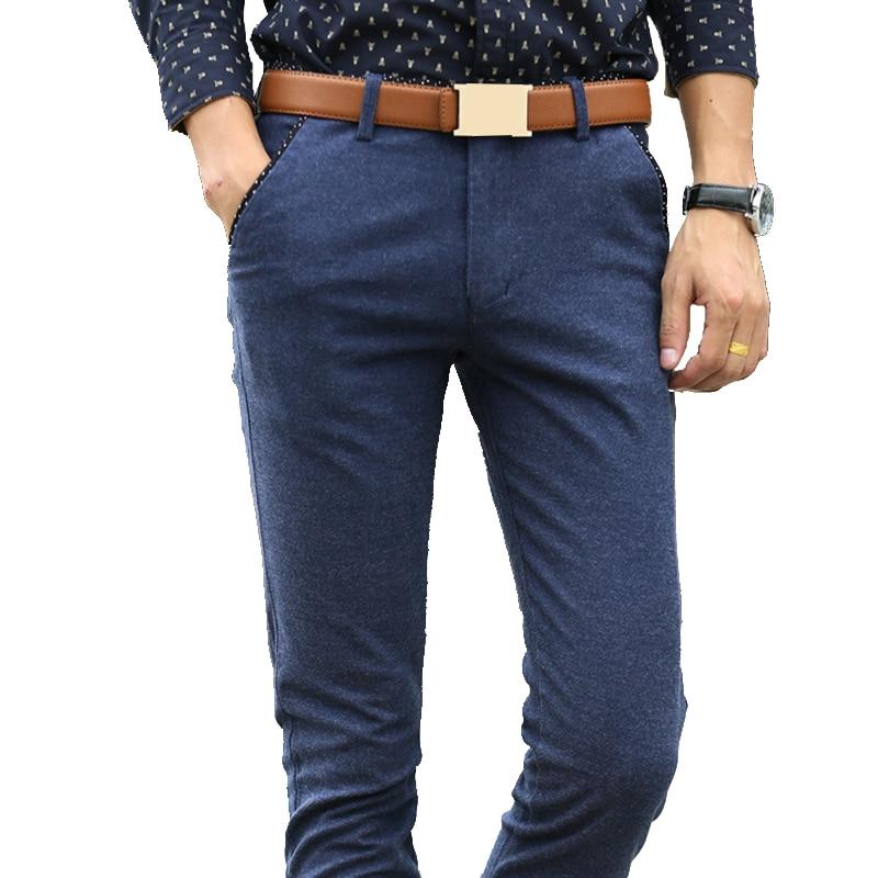 BROWON Spring Autumn Long Pants Fashion Men Business Casual Pants Men Easy Care Elastic Slim Straight Trousers Male