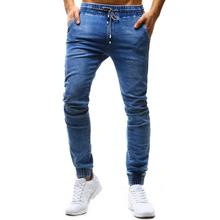 Jeans Men Classic Solid Color Slim Rope Waist Jeans Large Size S-3XL High Quality Fabric Men's Casual Feet Elastic Hip Hop Jeans modish solid color hole design narrow feet jeans for men