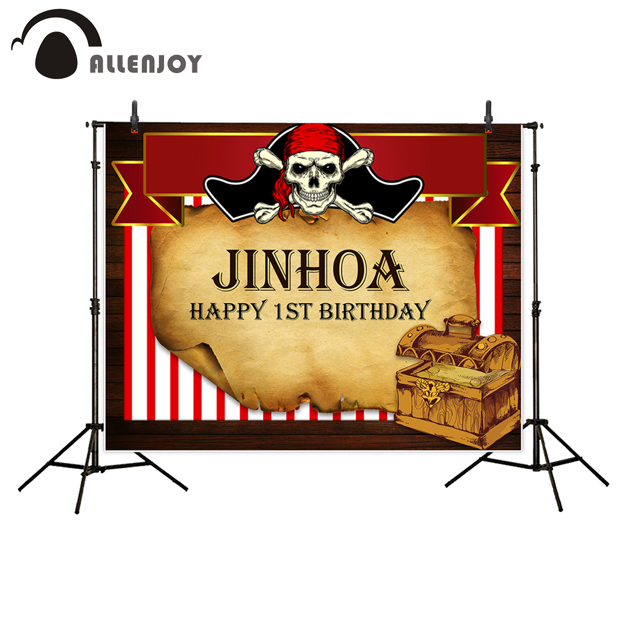 Allenjoy Pirate Background treasure box Birthday Background Custom Name photocall for a photo shoot photographic photo backdrop