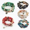 Fashion Women Rhinestone Ethnic Style Multilayer Resin Bracelet Adjustable Bangles Handcraft Jewelry Gift