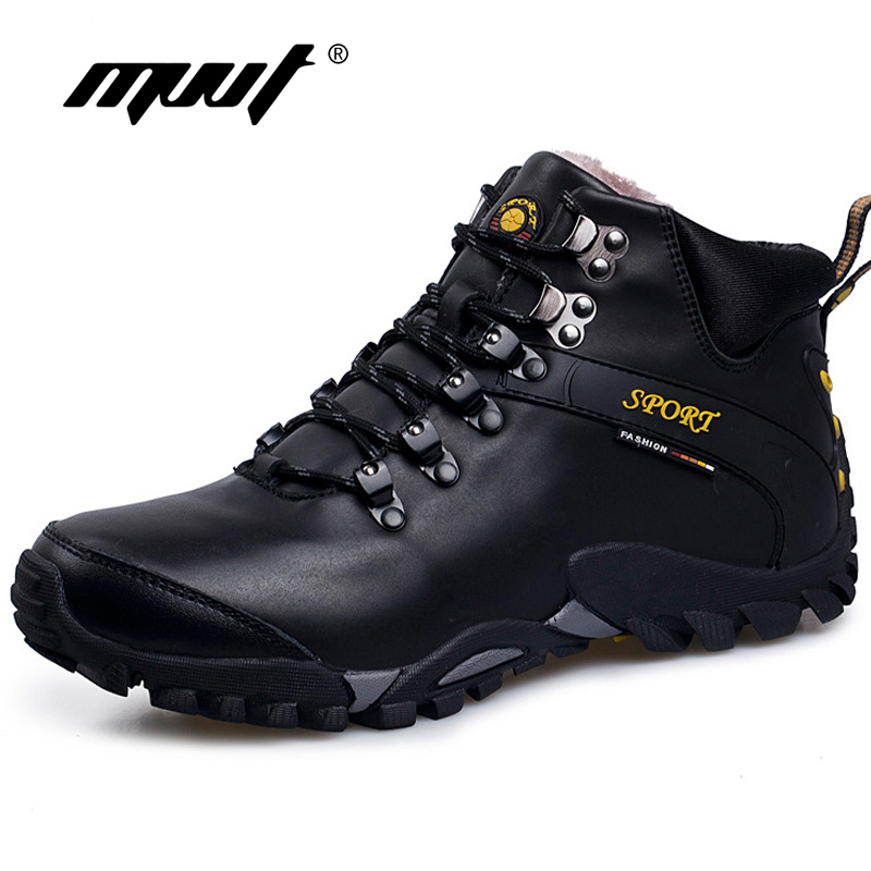 Snowfield Outdoor  Men Winter Boot With Fur Split Leather Boots For Men Non-Slip & Waterproof Men Boots Keep Warm Men Shoes yin qi shi man winter outdoor shoes hiking camping trip high top hiking boots cow leather durable female plush warm outdoor boot
