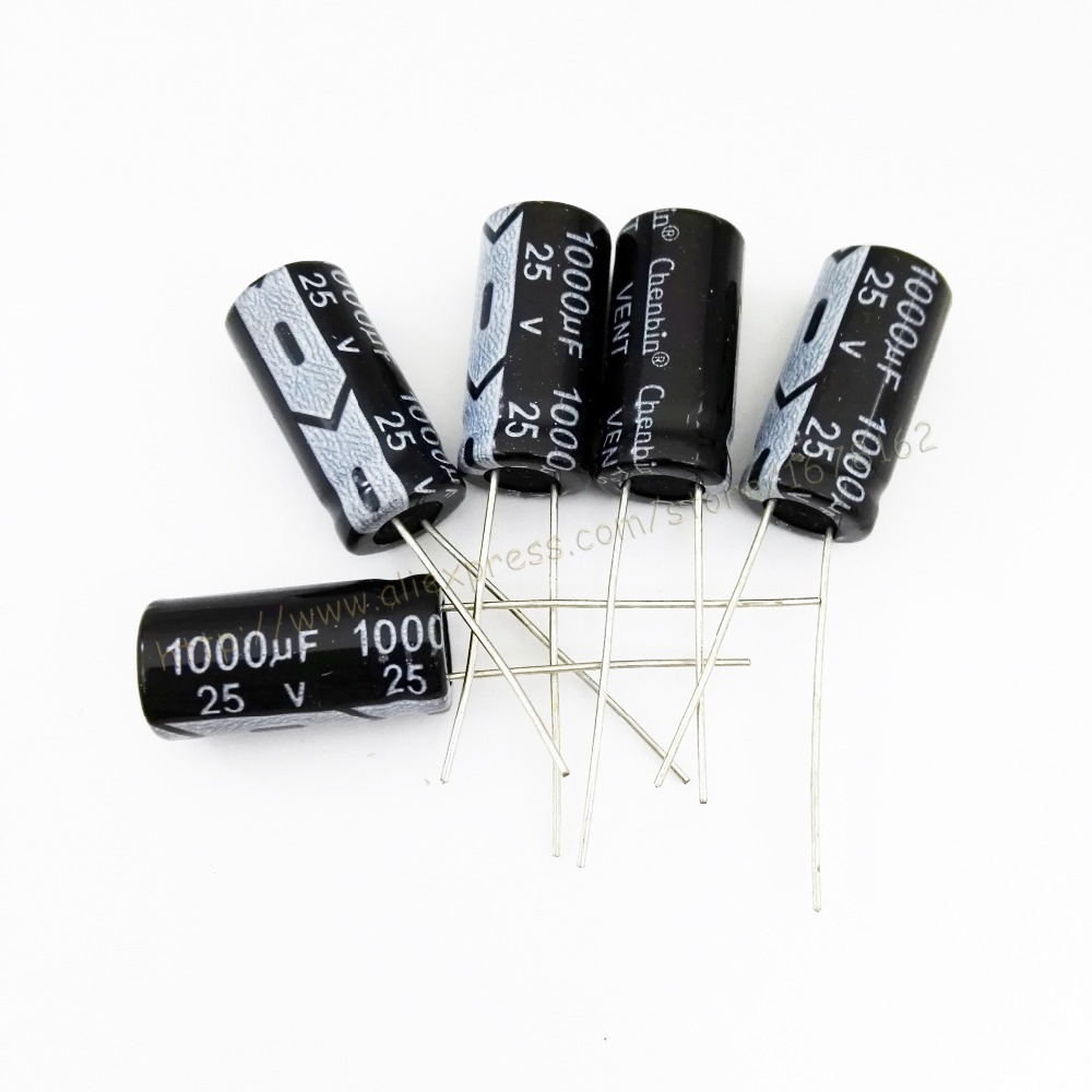 Image 2 - 250pcs/lot 1000uF 25V 20% 10x20mm Through Hole Aluminum electrolytic capacitor-in Capacitors from Electronic Components & Supplies
