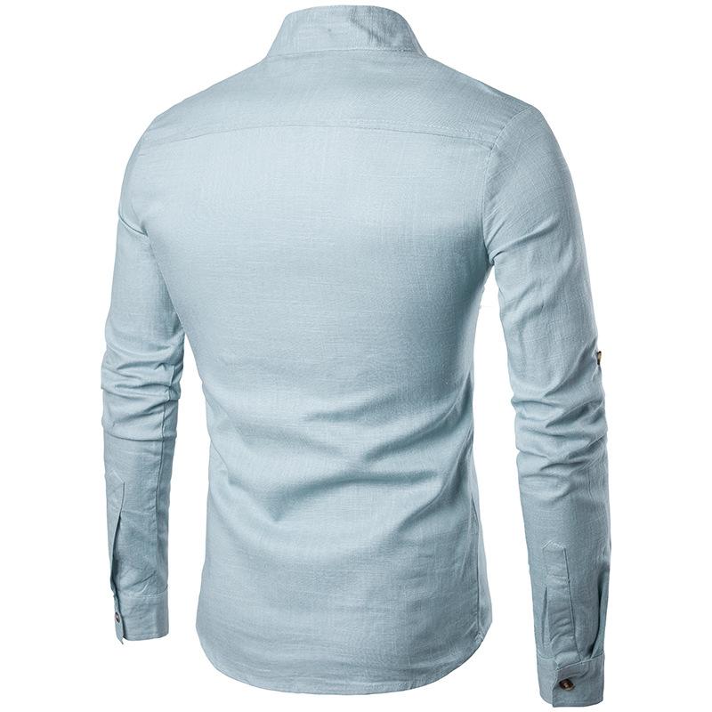 Tunique col Mao bleue clair, manches longues, vue de dos