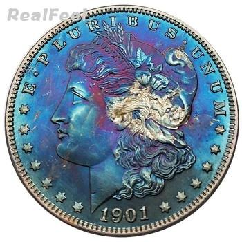 Usa 1901 Morgan Dollar Alte Kopie 90 Silber Münze Replik Sammeln