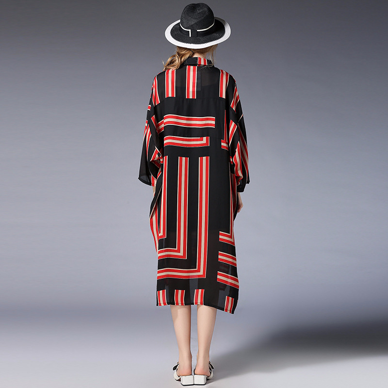 D'été Femelle Soie Et De Femmes Porter Printemps Mousseline Robe Peut Red 100 Nouvelle Kg Taille Plus Pour Géométriques black Motifs La wqng5
