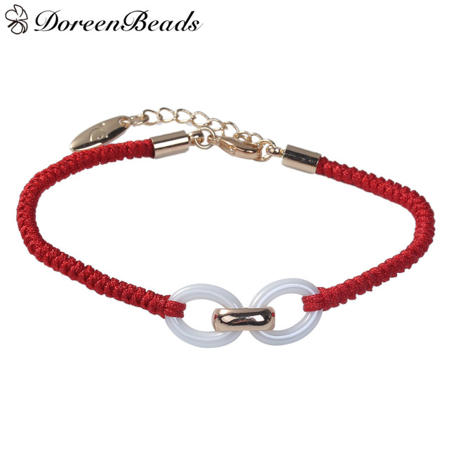 Doreenbeads Polyester Kabbalah Red String Braided Friendship