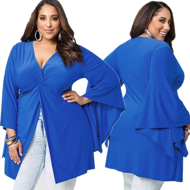 Fold Tunic blue T shirt V neck Oversize 2016 New Summer Big yards