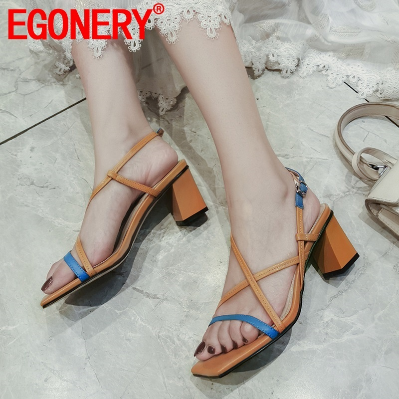 EGONERY woman shoes summer new fashion sexy mixed colors genuine leather woman sandals outside high heels buckle plus size shoesEGONERY woman shoes summer new fashion sexy mixed colors genuine leather woman sandals outside high heels buckle plus size shoes