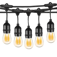 Thrisdar Commercial Grade 15M Christmas String Lights With 15 Edison Vintage 11W Bulbs E27 Outdoor Street