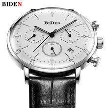 Купить с кэшбэком BIDEN Luxury Brand Men Watches Ultra Thin Stylish Design Quartz Watch Men Chronograph Sport Genuine Leather Band Watch Men Clock
