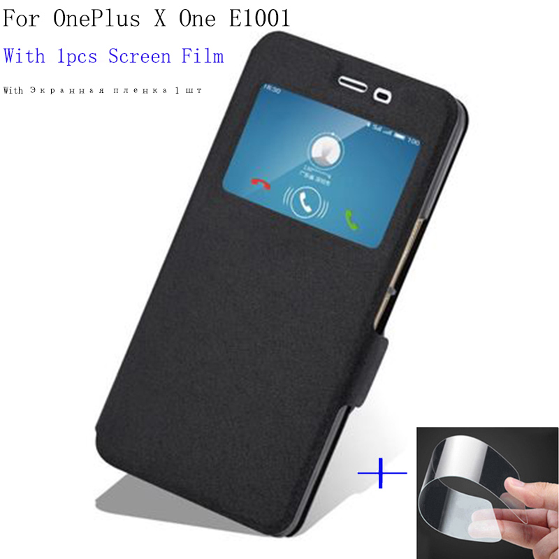 Smart View Window <font><b>case</b></font> For <font><b>Oneplus</b></font> X <font><b>Case</b></font> ONE <font><b>E1001</b></font> Cover flip PU Leather Shell OneplusX phone <font><b>cases</b></font> For One plus X back cover image